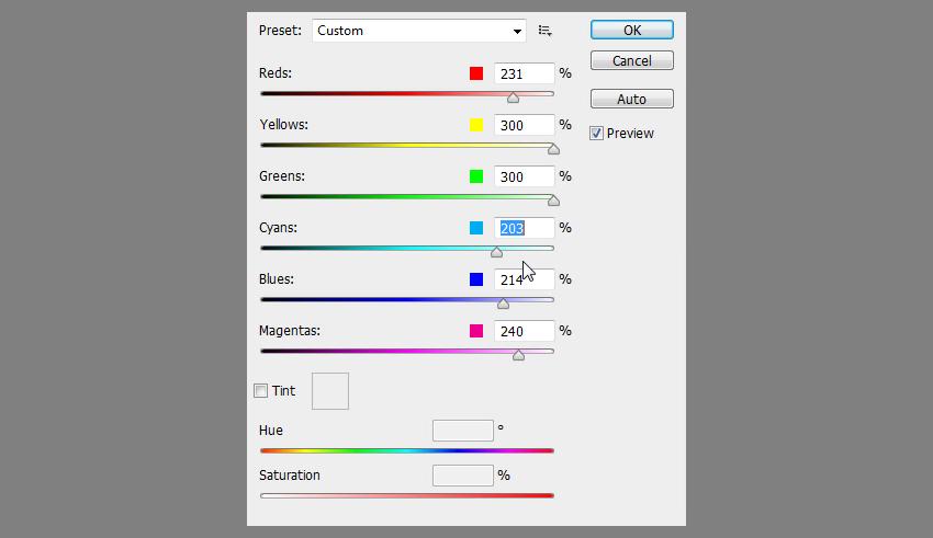 adjust black and white values