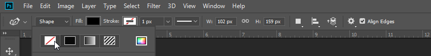 photoshop how to remove shape fill