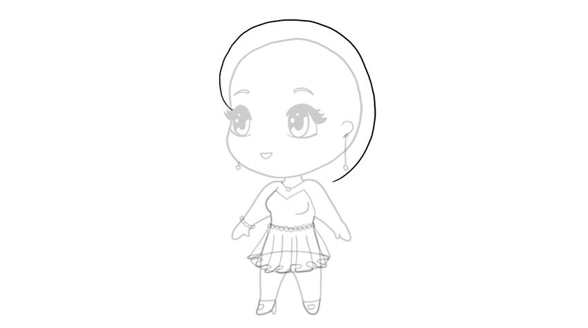drawing chibi hair outline