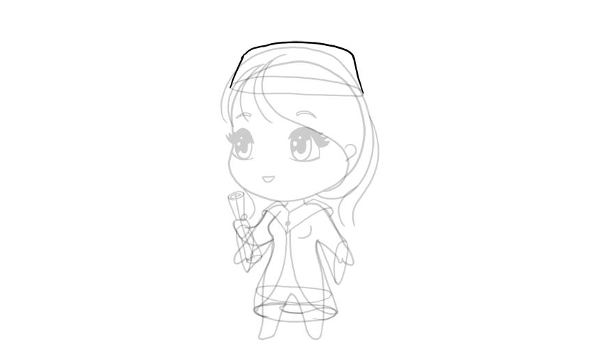 drawing chibi cap on head