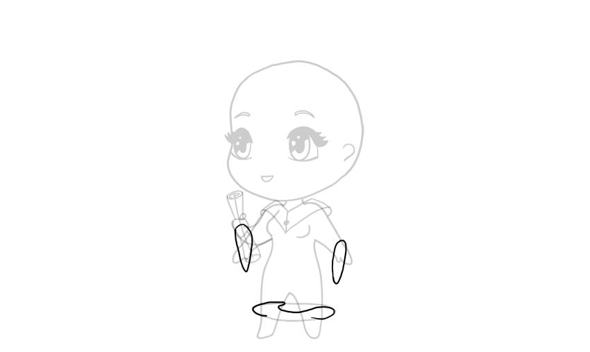 drawing chibi robe sleeves