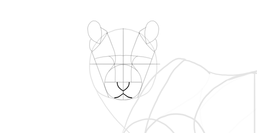 sketch the nose and mouth