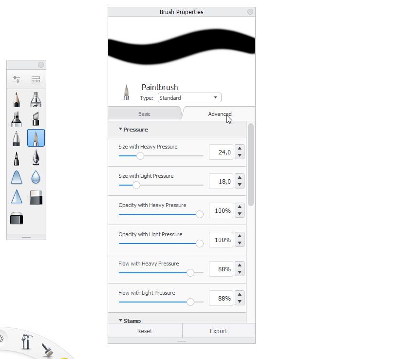 sketchbook advanced brush settings
