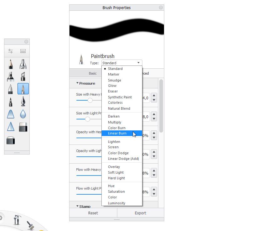 sketchbook brush type