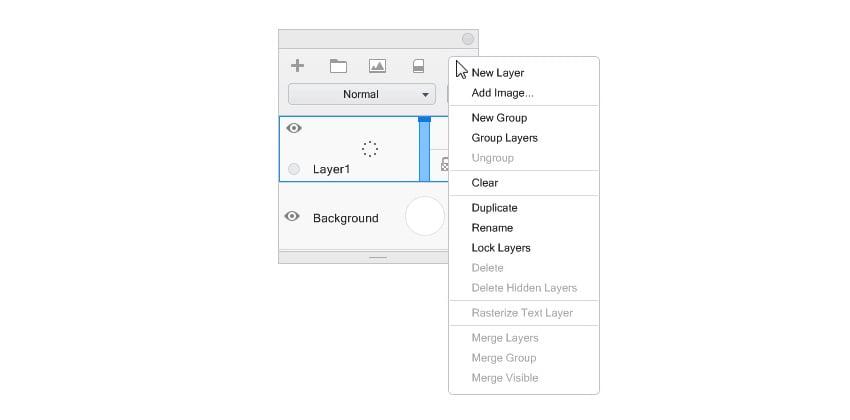 sketchbook layer menu