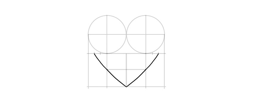draw bottom of the heart