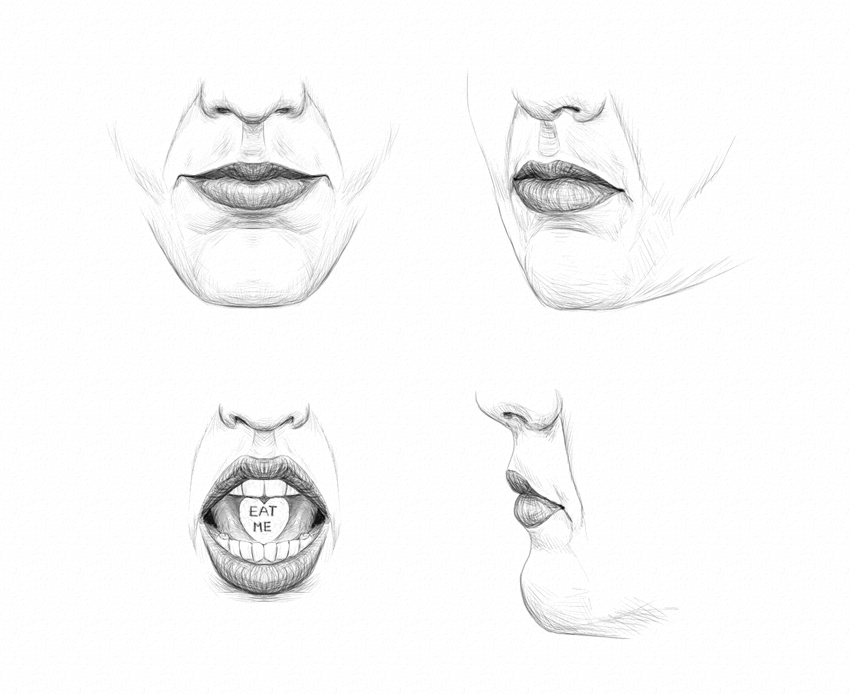 how to draw lips without reference