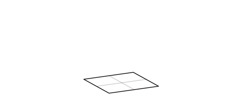 outline the square base of a cube