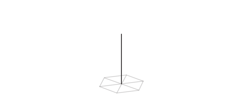 draw fourth axis of hexagonal crystal