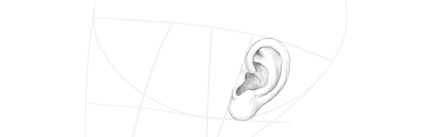 how to draw ear side profile