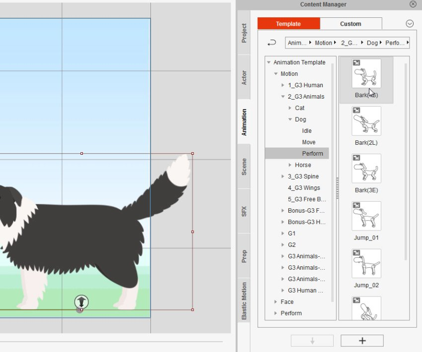 how to add bark animation in cta3