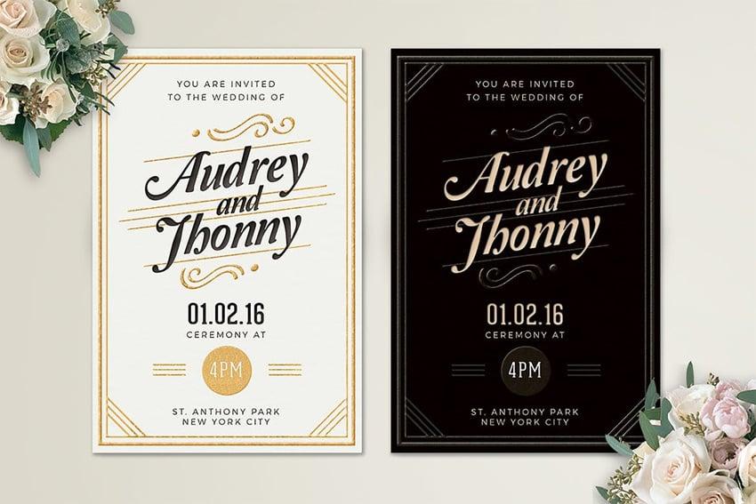 wedding invitation white or black