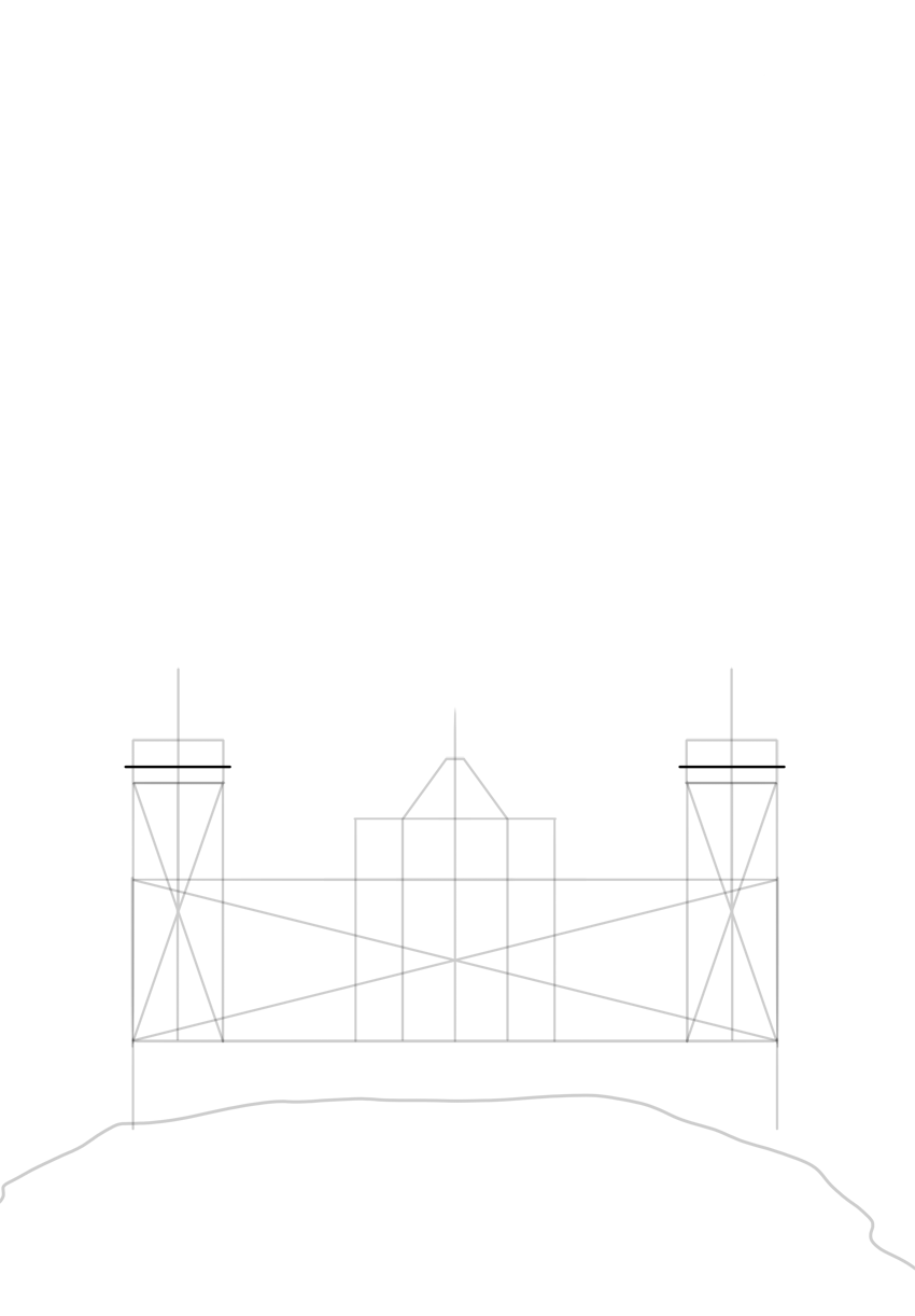 cross top of tower with horizontal line