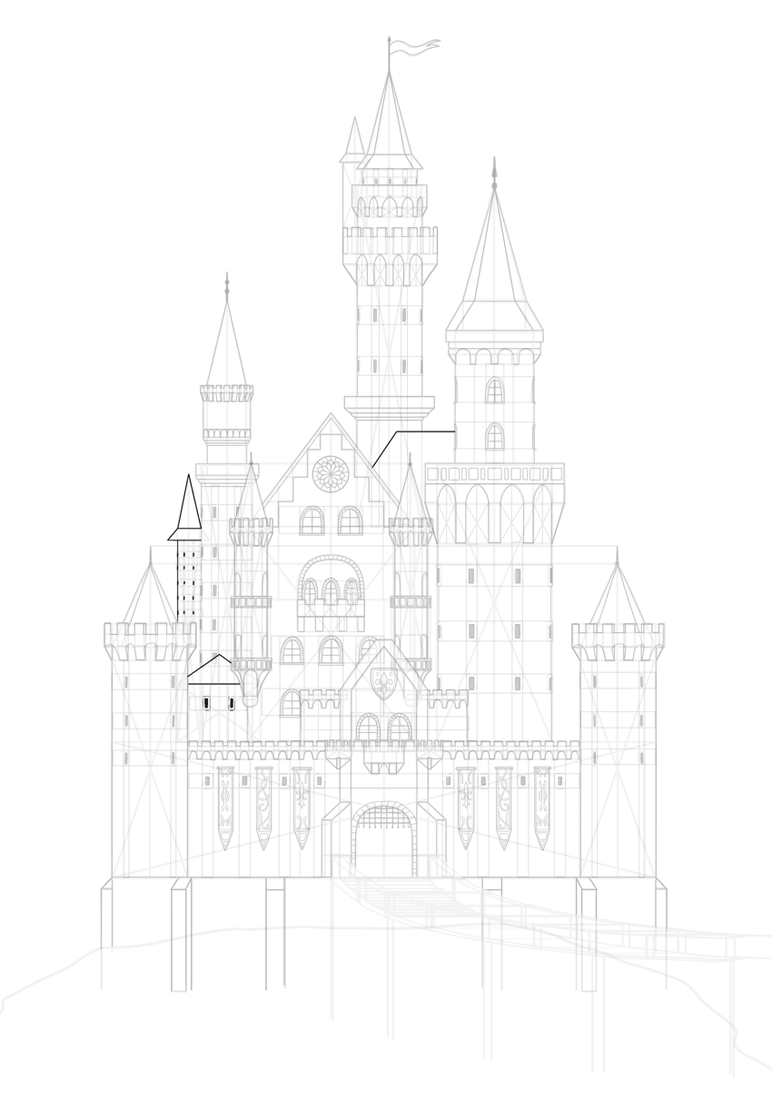 draw castle roofs