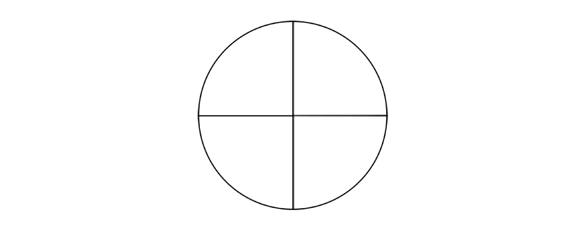 circle with perpendicualr diameters drawing