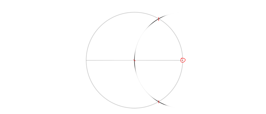 find middle of radius with compass