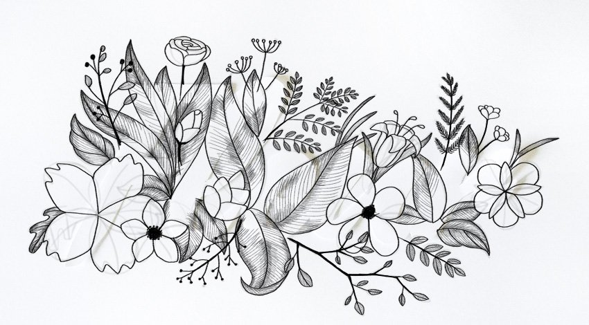 draw middle of flowers