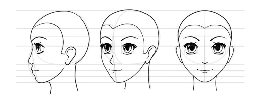 how to draw manga face turnaround