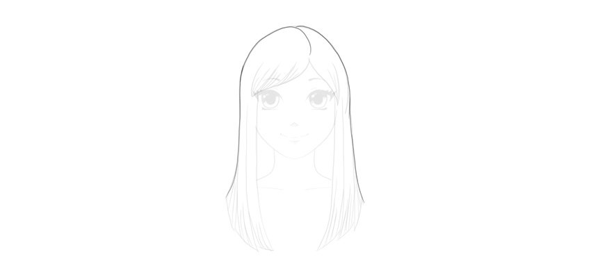 finish straight hair outline