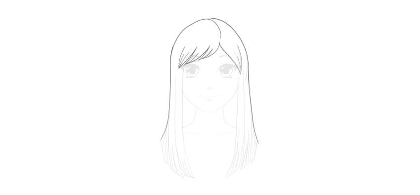 outline straight hair
