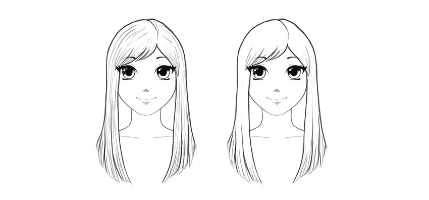 how to draw manga straight hair