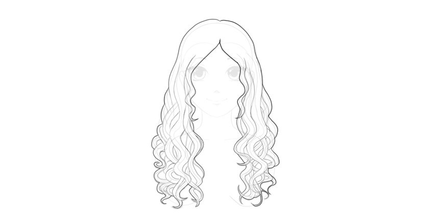 outline wavy hair