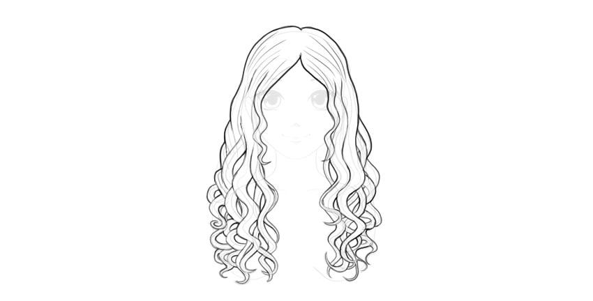 wavy hair outline