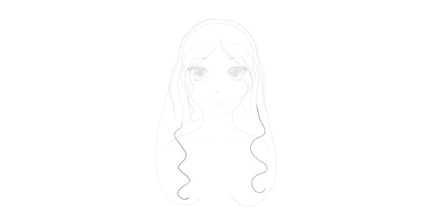 sketch wavy strands