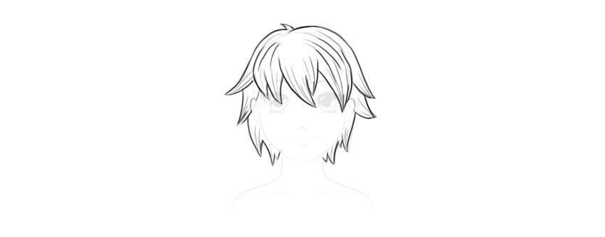draw outline of short hair male manga