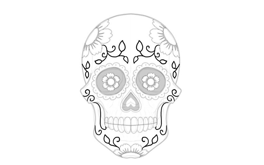 draw leaves on sugar skull