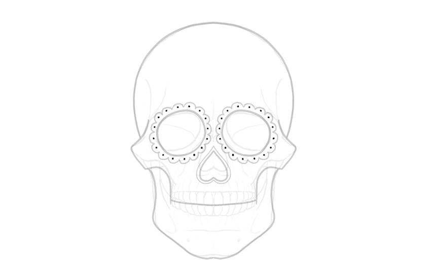add dots around eye sockets
