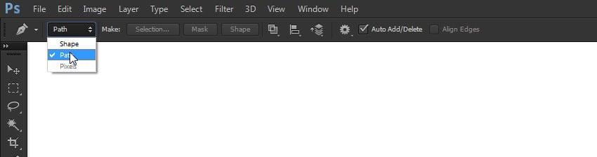 change pen tool mode to path
