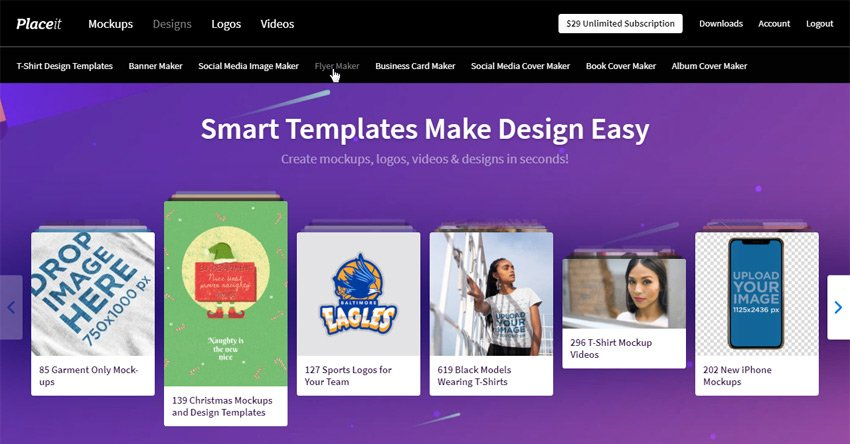 placeit landing page