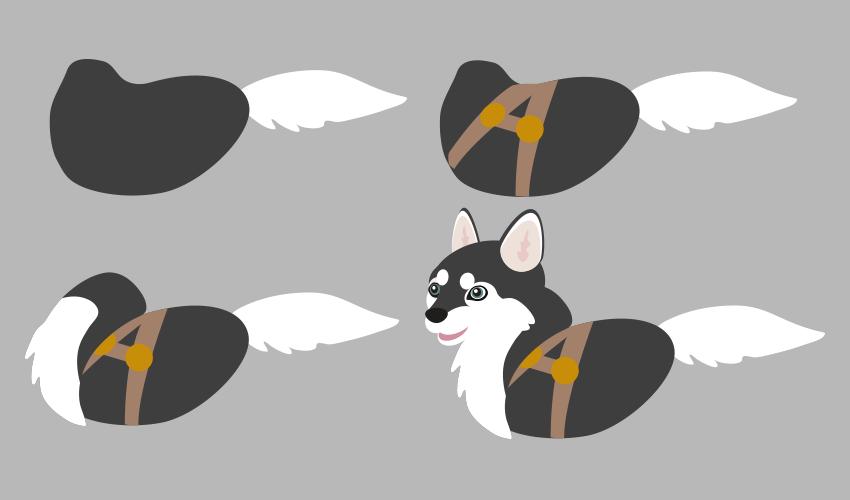 create husky torso in vector