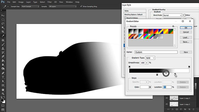 change black and white gradient