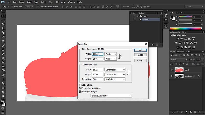 how to change image size photoshop
