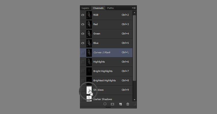 select shadows channel