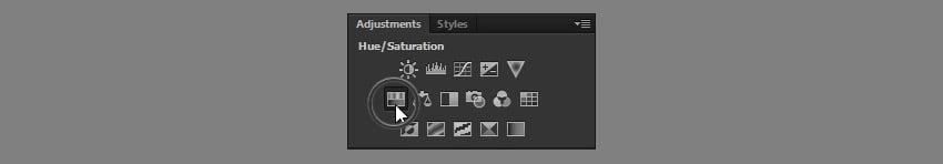 add hue saturation adjustment layer