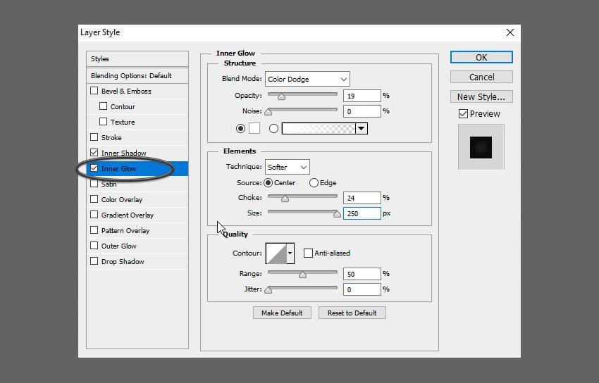 Glass Text PSD Tutorial add inner glow