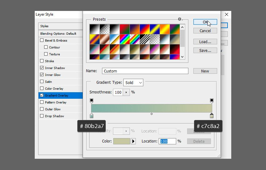 Glass Text PSD Tutorial gradient colors