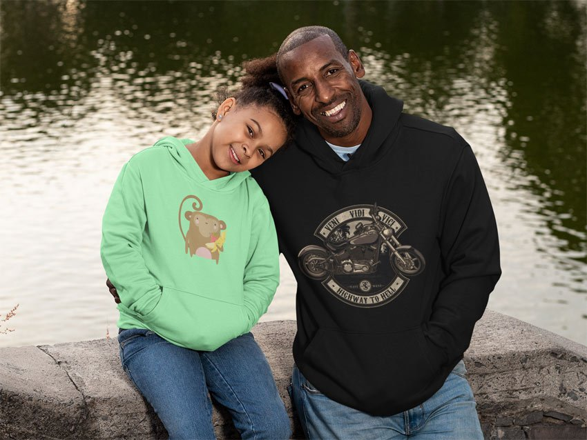 dad and daughter hoodie mockup