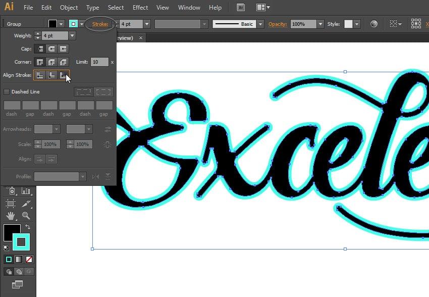 convert text to shape illustrator