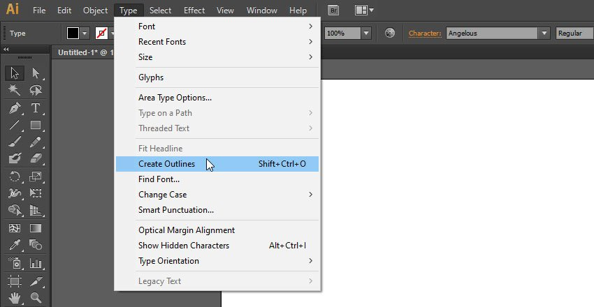 convert text to outlines illustrator