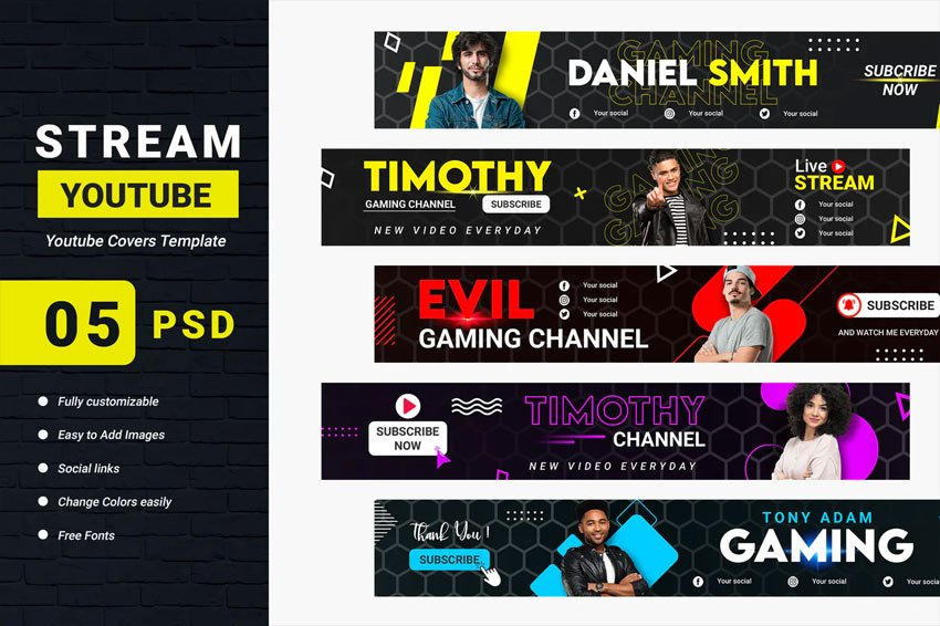 Streaming Channel Youtube Banner Template