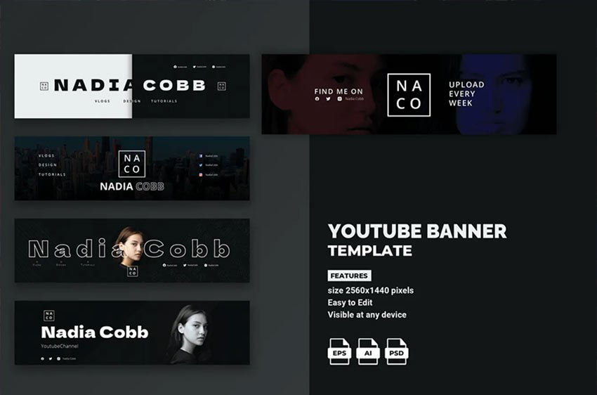 Minimalistic Youtube Banner Template