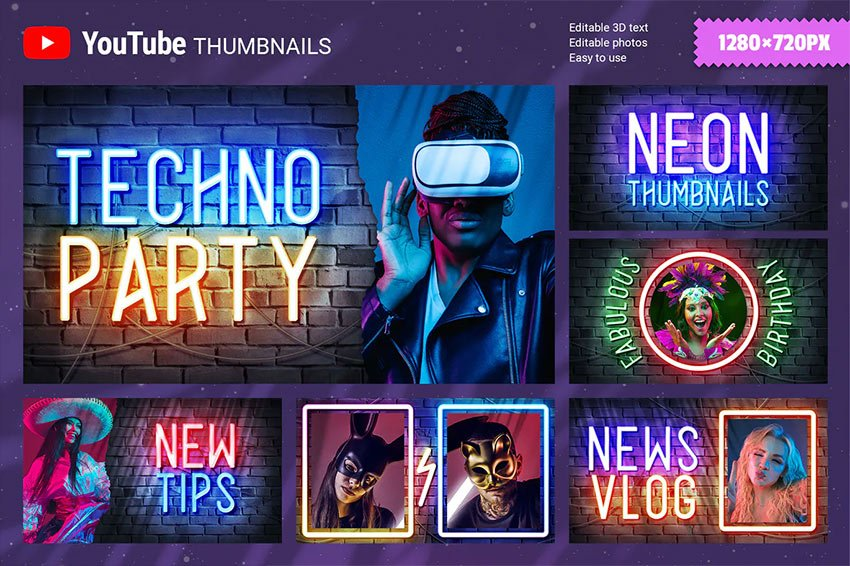 Neon Youtube Thumbnails