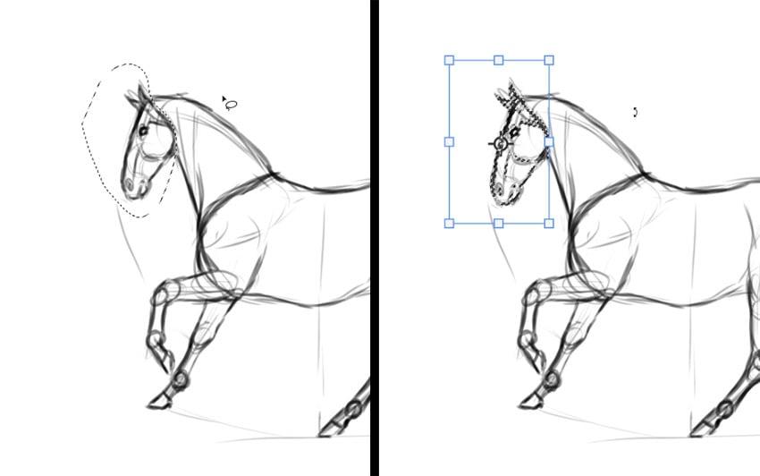selecting in digital drawing