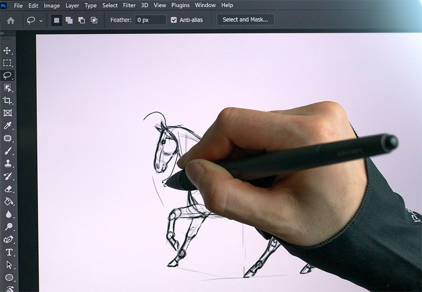 selecting with a drawing tablet