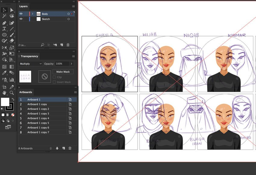 trace the sketches for the hijabs