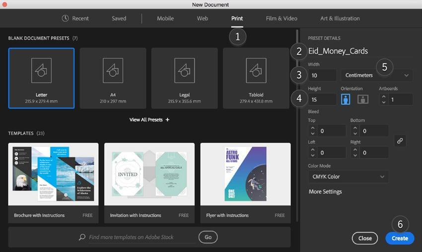 adobe illustrator create new document